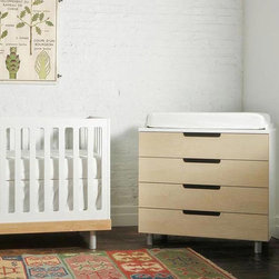 Classic 4 Drawer Dresser By Oeuf - The classic 4 drawer dresser has sleek metal legs. The matte and warm white finish adds to the contemporary styling of the furniture. Elegance can be easily added to your nursery room with this supremely effective drawer and dresser. You just need to include an additional changing pad separately to use this drawer and dresser as a changing table when your baby needs diaper changing moments.