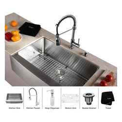 Kraus - Kraus 33 inch Farmhouse Single Bowl Stainless Steel Kitchen Sink with Chrome Kit - *Add an elegant touch to your kitchen with unique Kraus kitchen combo