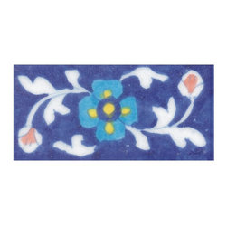 """Knobco - Tiles 2x4"""", Turquoise, Yellow & Blue Flower & Green leaf w/ Blue Base - Turquoise, Yellow and Blue Flower and Green leaf with Blue Base Tiles from Jaipur, India. Unique, hand painted tiles for your kitchen or other tiling project. Tile is 2x4"""" in size."""