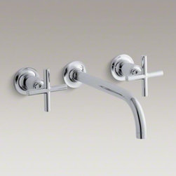 "KOHLER - KOHLER Purist(R) wall-mount bathroom sink faucet trim with cross handles and  9"" - Capturing the style of minimalist design, Purist faucets deliver streamlined water control. This sink faucet trim features a 90-degree angled spout and cross handles for easy operation. The convenient wall-mount design provides a clutter-free countertop i"