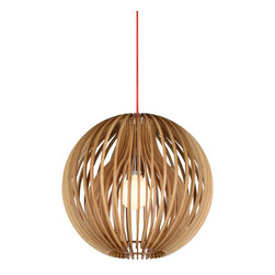 Double Layer Wooden String Shade Contemporary Pendant - Crafted by hand, this ball shaped pendant light is a great way to achieve modern decor. This pendant light not only has a creative contemporary design, but also diffuses a warm, enduring glow in the room, adding a romantic and stylish ambient.