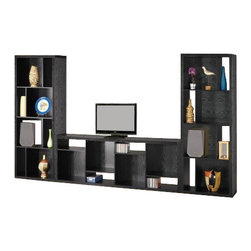 "Coaster - Bookcase (Black) By Coaster - Eight staggered shelves. Shelves provides space for books, framed photos and favorite decorative items. Dark oak finish. 27 "" W x 15 "" D x 73.75 "" H.  This bold contemporary bookcase will add stylish storage to your living room, office or hallway. Creating a stylish way to spice up your wall. Use alone or mix horizontally and vertically placed units for a custom look."