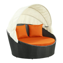 Siesta Outdoor Wicker Patio Canopy Bed in Espresso with Orange Cushions