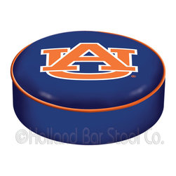 """Holland Bar Stool - Holland Bar Stool BSCAuburn Auburn Seat Cover - BSCAuburn Auburn Seat Cover belongs to College Collection by Holland Bar Stool This Auburn bar stool cushion cover is hand-made in the USA by Covers by HBS; using the finest commercial grade vinyl and utilizing a step-by-step screen print process to give you the most detailed logo possible. This cover slips over your existing cushion, held in place by an elastic band. The vinyl cover will fit 14"""" diameter x 4"""" thick seats. This product is Officially Licensed. Make those old stools new again while supporting your team with the help of Covers by HBS! Seat Cover (1)"""