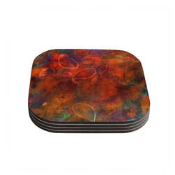 """Kess InHouse - Nikki Strange """"Tie Dye Paisley"""" Orange Red Coasters (Set of 4) - Now you can drink in style with this KESS InHouse coaster set. This set of 4 coasters are made from a durable compressed wood material to endure daily use with a printed gloss seal that protects the artwork so you don't have to worry about your drink sweating and ruining the art. Give your guests something to ooo and ahhh over every time they pick up their drink. Perfect for gifts, weddings, showers, birthdays and just around the house, these KESS InHouse coasters will be the talk of any and all cocktail parties you throw."""