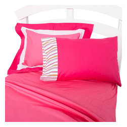 """Sophia Lolita - Twin Sheet Set - Flat and fitted sheets come with our poppin pink cotton fabric. Standard pillowcase come in bright solid poppin pink and trim in """"Sophia Lines"""" cotton fabric."""