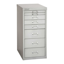 Empire Office Solutions - Bisley 8-Drawer Under Desk Multi-Drawer Cabinet in Light Gray Steel - The aptly-named Bisley multi drawer under-desk steel cabinet features eight drawers to organize paper, forms, art supplies, crafts, scrapbooking tools and other items. The drawers pull out fully, offering easy access to drawer contents. The durable steel cabinet is sized to fit under a desk or counter. Accented with attractive chrome pull handles and built-in label holders, this compact storage cabinet looks great at the office, workshop, garage or home. Enhance with Bisley multi drawer inserts to neatly store pens, paper clips, thumb tacks and other small items. This under-desk cabinet is finished in long lasting powder coated paint that won't chip or rust.