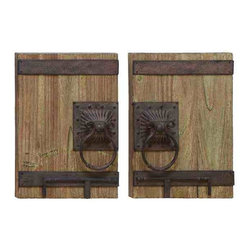 UMA - Old World Entry Wall Decor Set of 2 - Heavy, old style knockers and hardware adorn two individual antique door replicas featuring a wood grain finish