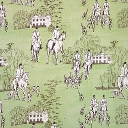 Horse hunt fabric green equestrian toile, Standard Cut - A horse hunt fabric. An equestrian fabric done as a reverse toile on green. A green toile horse fabric that is unique.