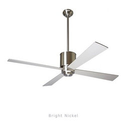 "Modern Fan - Modern Fan Lapa ceiling fan - The Lapa ceiling fan was designed by Ron Rezek for The Modern Fan Co. Our continuing desire to add value along with design to our product line resulted in the distinctive Lapa fan. The optional light is available with incandescent or energy-saving fluorescent lamping. A hugger adapter is also available for lower ceiling applications. The Lapa includes 2 standard down-rods, 5"", & 13"", yielding 16"", 24"", overall lengths respectively. Accessory down-rods are available for longer overall lengths.   Product Details:   The Lapa ceiling fan was designed by Ron Rezek for The Modern Fan Co. Our continuing desire to add value along with design to our product line resulted in the distinctive Lapa fan. The optional light is available with incandescent or energy-saving fluorescent lamping. A hugger adapter is also available for lower ceiling applications. The Lapa includes 2 standard down-rods, 5"", & 13"", yielding 16"", 24"", overall lengths respectively. Accessory down-rods are available for longer overall lengths.                                      Manufacturer:                                      The Modern Fan Company                                                     Designer:                                     Ron Rezek                                                     Made in:                                     USA                                                     Dimensions:                                      Height: 12"" (30.5 cm) X Blade Span: 42"" (106.7 cm) or 52"" (132.1 cm)                                                     Light Bulb:                                     1 X 75W Incandescent or 1 X 26W Energy Saving CFL"