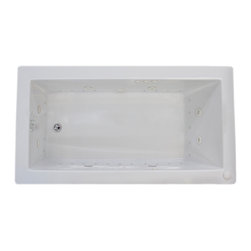 Venzi - Venzi Villa 36 x 60 Rectangular Air & Whirlpool Jetted Bathtub - The Villa series bathtubs resemble simplicity set in classic design. A rectangular, minimalism-inspired design turns simplicity of square forms into perfection of symmetry.