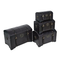 International Caravan Old World Replica Set of 4 Trunks-Dark Chocolate - Bring beautiful multipurpose storage to your home with this International Caravan Old-World Replica Set of 4 Trunks. These stunning trunks - one each extra-small medium large and extra-large - feature wood construction and are covered in a rich very dark chocolate brown faux leather. Antique-style hardware and accents complete the look and each trunk has metal handles on the sides. You will find a multitude of uses for these trunks from storing clothing in your bedroom to stashing magazines in the living room. These trunks are sure to add elegance and gorgeous Old-World style to any room of your home.Dimensions:Extra-small trunk: 15W x 9D x 8.5H inchesMedium trunk: 18W x 12D x 10.5H inchesLarge trunk: 21W x 15D x 13H inchesExtra-large trunk: 25W x 18D x 16H inchesAbout International CaravanInternational Caravan Inc. is a wholesale and manufacturing company that supplies a wide variety of international products to retail businesses. From living room and bedroom furniture and home decor to outdoor furniture and futons International Caravan has the pieces you need with the look you want to match your lifestyle.