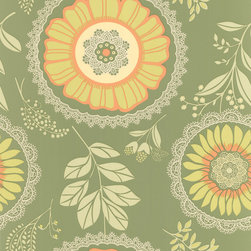 Graham and Brown - Amy Butler Wallpaper - Lacework - Field, Swatch - Lacework is a modern take on folk aesthetic. The bold feel of the mandalas are complimented by the delicate textures.