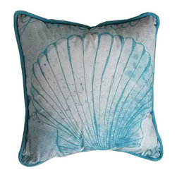 Handcrafted Nautical Decor - Light Blue and White Seashell Decorative Throw Pillow 10'' - This charming Light Blue and White Seashell Decorative Throw Pillow 10'' combines the  atmosphere of  the sea and represents sea life with a seashell placed prominently in the center of our pillow. This pillow will evoke memories of the waves washing up to the shore. Place this  pillow in   your home to show guests your affinity for sea life and beach  decor.----    Handcrafted by our master artisans--    Beautiful seashell design--         --    Light Blue and white nautical colors --    --