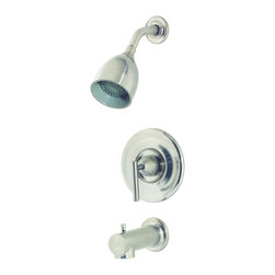 Price Pfister - Price Pfister R89-8NK0 Contempra Single Handle Tub and Shower Faucet in Brushed - Price Pfister R89-8NK0 Contempra Single Handle Tub and Shower Faucet in Brushed NickelSleek and sophisticated, the Contempra collection exemplifies modern design with smooth curves and high-arc styling. A minimalist dream.Price Pfister R89-8NK0 Contempra Single Handle Tub and Shower Faucet in Brushed Nickel, Features: • Single-Handle faucet design for quick and easy water control with a single lever