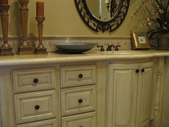 Mediterranean Bathroom Sinks: Master Bathroom Vanity (White Washed W/darker Counter
