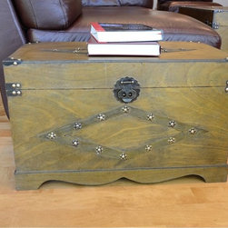 None - Decorative Jamestown Medium Wooden Treasure Hope Chest - This beautiful wood trunk features old fashioned hardware for an antique look. This decorative treasure chest is great for coffee table, end table, storage and decoration.