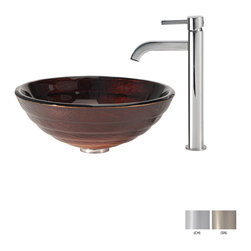 Kraus - Kraus Iris Glass Vessel Sink and Ramus Faucet Satin Nickel - *Add a touch of elegance to your bathroom with a glass sink combo from Kraus