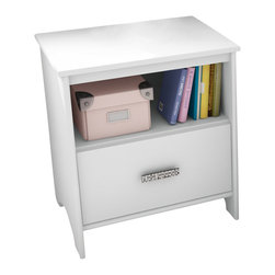 South Shore - South Shore Sabrina Nightstand in Pure White - South Shore - Nightstands - 3650062 - The Sabrina nightstand in Pure White finish features a drawer and an easy-access open compartment. Girls will love its sparkling chrome metal handle decorative cut-outs and light airy feel. It is equipped with polymer glides that include dampers and catches for enhanced safety.