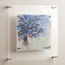 """Exposures - Little Artiste Kids Art Frame - Overview This ingenious kids art frame holds your childs artistic creations 2"""" away from the wall surface to accommodate everything from 3-D macaroni projects to the first self-portrait. Super-strong magnets hold artwork securely in place and make masterpieces easy to change out.  Features Acrylic frame Brushed stainless steel hardware  Super-strong magnets hold artwork in place Available in 3 sizes Clean only with a damp cloth and dish soap, no multi-cleaner or glass cleaner  Specifications  Available in 3 sizes 12"""" wide by 12 high x 1 1/2"""" deep  14"""" wide by 14 high x 1 1/2"""" deep  10"""" wide by 12 high x 1 1/2"""" deep"""