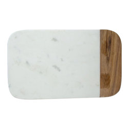 "Oslo Marble Cheeseboard - 10"" L x 6""W – Stone with wood accent."