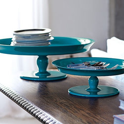 Teal Pedestal Trays - Pedestals are a pretty way to display jewelry — or to simply make sense of little odds and ends that tend to accumulate on a dresser.