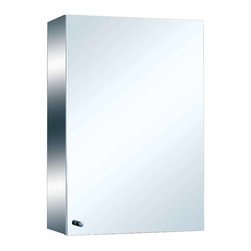 Renovators Supply - Medicine Cabinets Bright Stainless Mirror Cabinet 21 3/4'' H | 13536 - Medicine Cabinet Mirror. Maximize storage in style, this exquisite medicine cabinet is 100% stainless steel inside and out. The perfect investment for any bathroom. Bathroom cabinet mirror, overall measures: 21 3/4 inch H x 13 3/4 inch W x 6 inch projection.