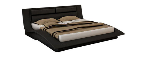 J&M Furniture - J&M Wave Black Leather & Lacquer Queen Size Platform Bed - The Wave platform bed is a beautiful piece of today's modern furniture that works well with any decor. This bed comes upholstered in a stunning black leather on the headboard. The headboard has a stylish multi-pillow look perfect for comfortable head support. The frame comes in a black lacquer finish. The price shown here includes a queen size bed only. A mattress does NOT come included with the bed.