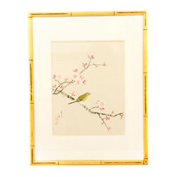 Vintage Cherry Blossom with green bird #1 - Cherry Blossom with green bird