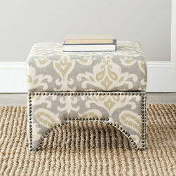 Safavieh - Safavieh Sahara Scolls Grey Square Storage Ottoman - Sahara ottoman features a stylish design inspired by combining traditional elements with a modern twist
