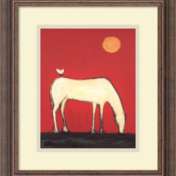 """Amanti Art - Free Ride Framed Print by Karen Bezuidenhout - A grazing horse acquires a unexpected passenger in this charming image from painter Karen Bezuidenhout. The warm bold colors give this image """"pop"""", which can add an element of spice to your decor."""