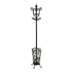 IMAX Worldwide Home - Metal Coat Rack with Umbrella Stand - Material: Wrought Iron 100%. 74 in. H x 13 in. W x 13 in. D. Weight: 15.1 lbs.With British sensibility, this metal coat rack and umbrella stand is tasteful and functional.