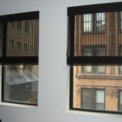 Window Treatments-Shades, shadings, sheers - Black classic roman style, semi-sheer, woven shades by Jeffrey M. Stein, Window Coverings professional, North Shore Decor.