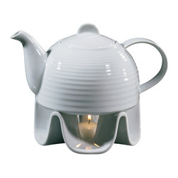 Frieling - Porcelain Teapot Set - An unbeatable value! Set contains tea pot with lid, warmer, base & tea light. Generous 37 fl. oz.