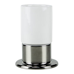 Hispania Bath - Inox Countertop Toothbrush-Toothpaste Holder. Inox and White Ceramic. - Inox Collection. Luxury and very decorative toothbrush and toothpaste holder for the bathroom. Made in inox and white ceramic. Pair with other Macral designs item collections such as, table soap dispenser, wall toilet brush holder and others which are available to be purchased any time online in our houzz profile stock items. Designed and manufactured in Spain