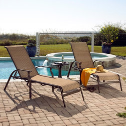 Hospitality Rattan - Panama Jack Island Breeze Sling 3 Piece Chaise Lounge Set - Espresso Dark Brown - Shop for Chaise Lounges from Hayneedle.com! Designed to beautifully complement today's lifestyle the Panama Jack Island Breeze Sling 3 Piece Chaise Lounge Set - Espresso is just what you need to enjoy the summer. Perfect for curling up with a good book or catching up with a friend while working on a tan this set which includes two chaise lounge and an end table offers the perfect blend of comfort and classic-contemporary style thanks to the graceful lines and subtle curves that make their presence felt at any patio or poolside.Boasting a tubular extruded aluminum frame in a unique powder coated espresso finish that will not rust the chaise lounge feature an exclusive woven Twitchell sling fabric which is so comfy that it eliminates the need for cushions enveloping you and a friend in luxurious comfort for hours on end. The end table features an attractive no-glass slatted aluminum top that prevents water accumulation while keeping your snacks and beverages handy. With the set being weather- and UV-resistant you are assured of years of enjoyment while the stackable design of the chaise lounge makes off-season storage a breeze.Dimensions:Chaise lounge: 84W x 28D x 22H inchesEnd table: 20W x 20D x 20H inchesAbout Hospitality RattanHospitality Rattan has been a leading manufacturer and distributor of contract quality rattan wicker and bamboo furnishings since 2000. The company's product lines have become dominant in the Casual Rattan Wicker and Outdoor Markets because of their quality construction variety and attractive design. Designed for buyers who appreciate upscale furniture with a tropical feel Hospitality Rattan offers a range of indoor and outdoor collections featuring all-aluminum frames woven with Viro or Rehau synthetic wicker fiber that will not fade or crack when subjected to the elements. Hospitality Rattan furniture is manufactured to hospitality specifi