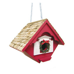 Home Bazaar Inc - Christmas Wren Cottage - Red - Cheerful holiday version of our Little Wren House. This hanging house is designed to accommodate house wrens and features a removable wreath detail around the entry hole. Topped with Western Red Cedar shingles and painted with a seasonal red outdoor paint. Fully functional house has a bottom panel that can be easily removed for yearly cleaning. Sturdy brass chain.