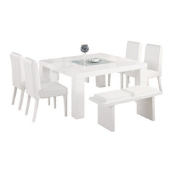 Global Furniture - Global Furniture USA G020DT 7 Piece Square Dining Room Set w/ White Chairs - Constructed of oak wood veneers this dining table makes a bold statement.  Finished in white with a frosted center glass and square shape you will have more than enough room to entertain and enjoy your dining experience