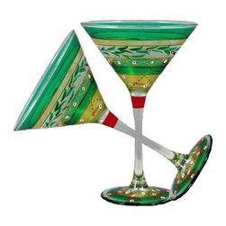 Christmas  Garland Martini Glasses  Set of 2 - This lovely hand painted martini glass is from our Mosaic collection and inspired by the colorful tiles of the Alhambra.  This collection is perfect for Christmas or any occasion.  Something to be handed down from generation to generation.  Proudly hand painted in the USA.