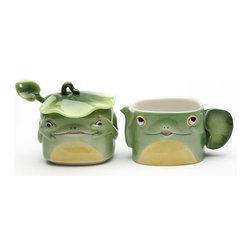 ATD - 3 Inch Playful Fairy Frog Sugar and Creamer Set with Spoon and Lid - This gorgeous 3 Inch Playful Fairy Frog Sugar and Creamer Set with Spoon and Lid has the finest details and highest quality you will find anywhere! 3 Inch Playful Fairy Frog Sugar and Creamer Set with Spoon and Lid is truly remarkable.