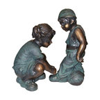 Alpine - Girl Fixing Boy's Shoe Lace Statue - This antique bronze finish resin sculpture has a timeless charm that captures the innocence of childhood. The intricate detailing of these children is sure to bring a whimsical playfulness to your garden or deck.Features: