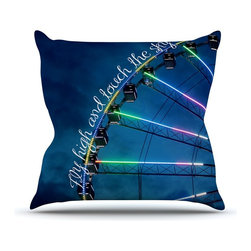 """Kess InHouse - Beth Engel """"Fly High And Touch The Sky"""" Navy Blue Throw Pillow (Outdoor, 16"""" x 1 - Decorate your backyard, patio or even take it on a picnic with the Kess Inhouse outdoor throw pillow! Complete your backyard by adding unique artwork, patterns, illustrations and colors! Be the envy of your neighbors and friends with this long lasting outdoor artistic and innovative pillow. These pillows are printed on both sides for added pizzazz!"""