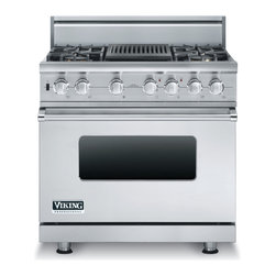 """Viking 36"""" Pro-style Dual-fuel Range, Stainless Steel Natural Gas   VDSC5364QSS - 4.9 CU FT CAPACITY SELF CLEAN OVEN"""