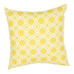"""Jaipur Rugs - Yellow/Ivory color polyester rossmere terrace poly fill pillow 20""""x20"""" - These fashion forward pillows, in trellis, stripes and whimsical patterns are for both indoor and outdoor use."""