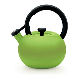 Circulon - Circulon Circles 2 Quart Steel Teakettle, Kiwi Green - Great performance and style have been Circulon features for over 25 years, and this Circulon 2-Quart Circles Teakettle offers that and more in a bright, essential kitchen accessory that will heat up to 8 cups of water. The teakettle capacity is generous enough for a medium to large tea or coffee press, while its modern shape and captivating color options add contemporary design to everyday use or that heirloom coffee service or cocoa pot. A whistle melodically sounds when water reaches a boil, and the flip-up spouts lever is right at the fingertip for ease of use. The teakettle complements the great form and function of other Circulon cookware for even more kitchen and tabletop style.