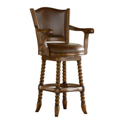 Ambella Home - Dawson Swivel Barstool - Featuring twist legs, an aluminum footrest, a mahogany finish and leather seat and back rest. (Leather subject to change)   Imported.