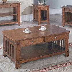 Parker House Mission Rectangular Cocktail Table with Drawers - Bring home the Parker House Mission Rectangular Cocktail Table with Drawers designed with the Shaker style in mind and experience the warmth while relishing its storage potential. Your home will be enriched and you more comfortable within it. About Parker HouseFamily-owned and family-operated Parker House Furniture is based in California and has been serving the fine furniture industry since 1946. The company's time-proven quality is an industry standard. Parker House continues its legacy with its newest line of expanding television consoles and entertainment wall systems plasma TV stands and accessories. Parker House takes pride in the quality of its furniture and is committed to making customer satisfaction its number one priority.