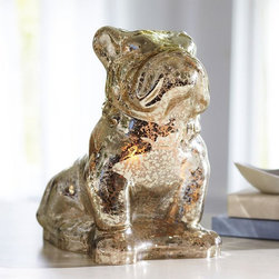 Mercury Glass Bulldog Lamp - This is the perfect touch of fun for any bookcase or hallway table. Its soft glow comes through the mercury glass. It would be something fun and unexpected for your house guests.