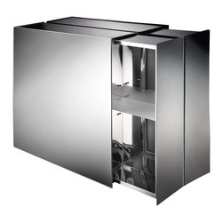 WS Bath Collections - Pika Medicine Cabinet w Sliding Side Door in - Stainless Steel. 2 Sliding Doors From Both Ends. Surface Mount. Made in Italy. Product Material: Stainless Steel. Finish/Color: Silver. Dimensions: 24.4 in. W x 22 in. L x 6.1 in. H