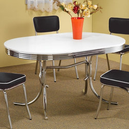 Coaster - Cleveland Oval Dining Table - Chairs sold separately. Casual style. Smooth finished top with chrome trim. Double pedestal base. Made from metal. Top in white color. 60 in. L x 36 in. W x 29.5 in. H. WarrantyCreate a fun and unique dining area with this dining table. Go back in time with the fun and distinctive styling of the Cleveland table. With a number of different looks, the Cleveland collection will make a wonderful addition to your pub room, game room or casual dining spaces.
